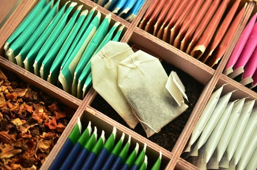 different kinds of tea in a box